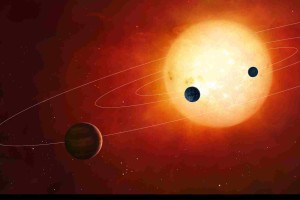 Artwork of exoplanets around nearby star